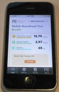 FCCが米アップルのiPhone向けに提供したブロードバンド測定アプリ。上りと下りの通信速度と遅延時間を計測できる