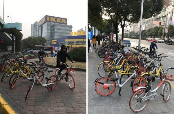 図1 路上に駐輪された自転車シェアリングの自転車。IKEA前の写真(左)で2人が乗っているのも自転車シェアのもの(上海市内)