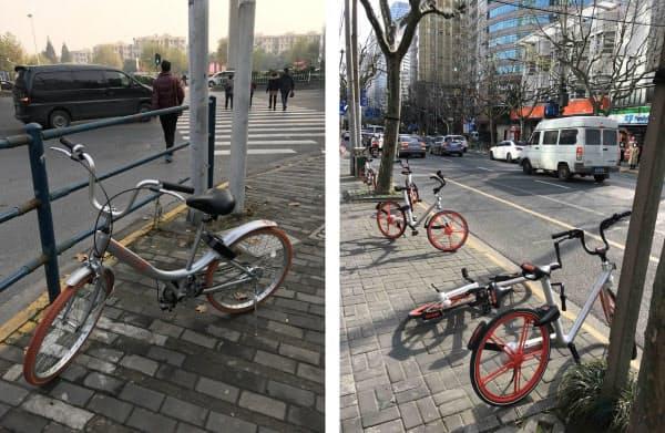 図3 乗り捨てられた自転車。交差点にポツンと置かれているもの、倒れているもの、など返却の仕方はさまざま(上海市内)