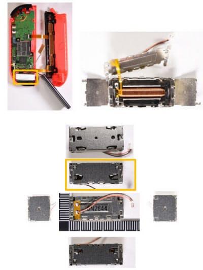 ジョイコンの振動モーター。Wii U GamePadの偏心モーターに代わって、重りを横滑りさせるタイプの振動モーターを採用する。アルプス電気製と推定