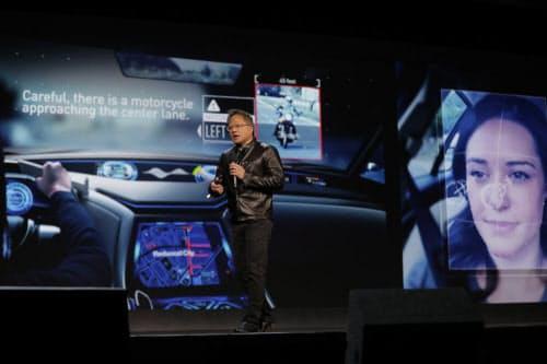 写真1 AI Co-Pilot について説明する NVIDIA CEO のJen-Hsun Huang氏(出所:NVIDIA)