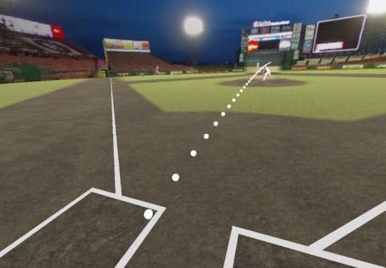 VRトレーニングシステムの視聴イメージ。投手は東北楽天ゴールデンイーグルスの松井裕樹選手。このイメージのように、投球の軌道を表示することも可能(図:NTTデータ)