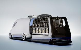 車体上部にドローンの発着機能を備える完全自動配送トラックのコンセプトカー「 The Vision Van 」(出所:Daimler)