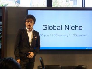 ランドロイドの発表会でゲストとして登壇したCerevo代表取締役の岩佐琢磨氏