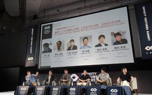 左から、スマートニュースの鈴木氏、ディー・エヌ・エーの原田氏、投資家の千葉氏、アイ・マーキュリーキャピタルの新氏、グリーの田中氏、gumiの国光氏