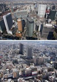 「キタ」と呼ばれる大阪・梅田周辺(写真上)と「ミナミ」と呼ばれる難波周辺(同下)