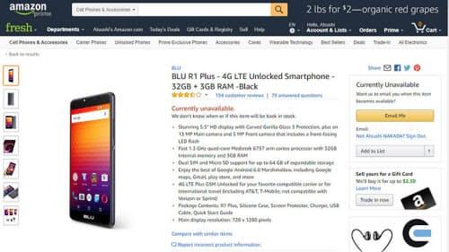 米Amazon.comにおけるBLU製スマホの販売ページ(出典:米Amazon.com)