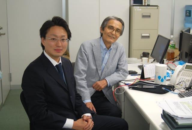 ラッキーバンク・インベストメントの田中翔平社長(左)と野島斌副社長