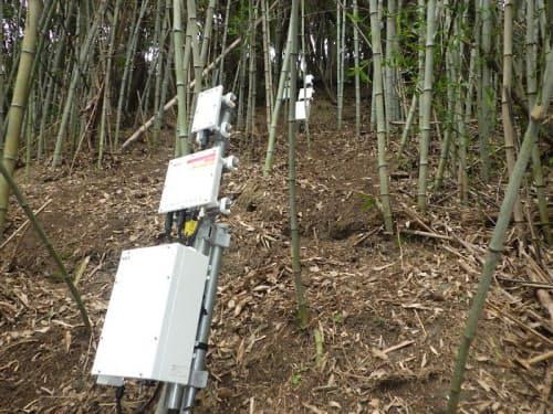 斜面に設置した、土砂の含水量を計測するセンサー(画像提供:NEC)