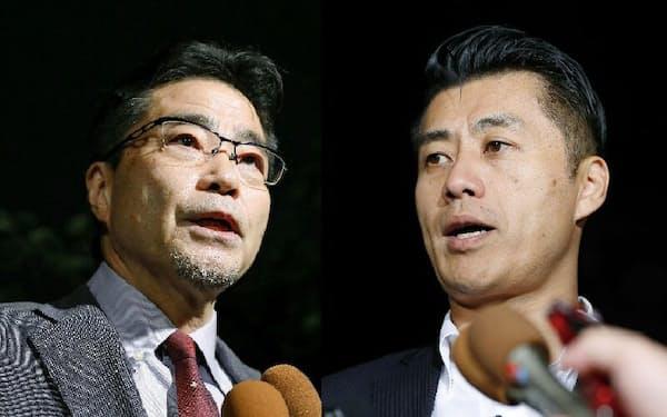 細野豪志、若狭勝両衆院議員らは年内の新党結成を模索している(会談を終え、都内で取材に応じる両氏。8月11日夜)