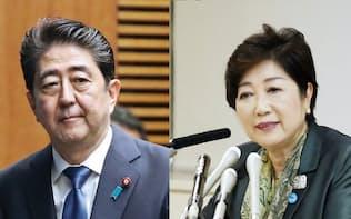 安倍晋三首相(左)と小池百合子東京都知事