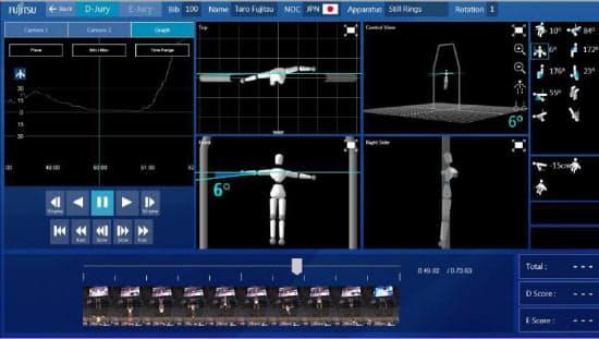 体操競技の採点支援システムのイメージ(図:富士通)