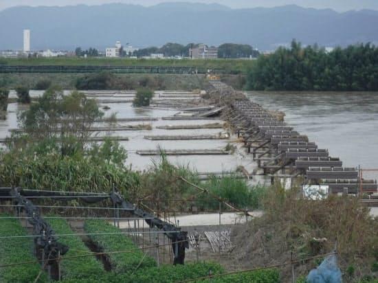 水位が下がって橋脚が現れた上津屋橋。橋脚の左側にワイヤで係留された上部構造が見える。10月24日に撮影(写真:京都府山城北土木事務所)
