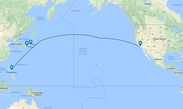 太平洋の海底ケーブル「ジュピター」のルート