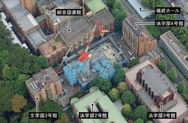 2015年9月に建設現場を上空から見たところ。建設地付近は建物が密集している。現在、 20年ごろの竣工を目指して総合図書館の改修工事が進んでいる(写真:エスエス東京)