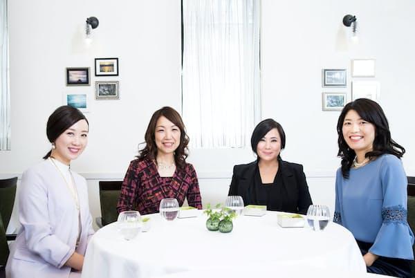 テーマカラーの効果について語っていただきました。左から、酒向杏奈さん、津田千枝さん、安斎陽子さん、竹内美香さん(写真:大隅智洋)