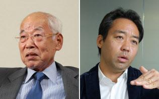 インターネットイニシアティブ(IIJ)の鈴木幸一会長兼CEO(左)と、フォースバレー・コンシェルジュの柴崎洋平社長