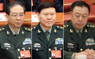(左から)房峰輝・前連合参謀部参謀長、張陽・前政治工作部主任、范長竜・国家中央軍事委員会副主席
