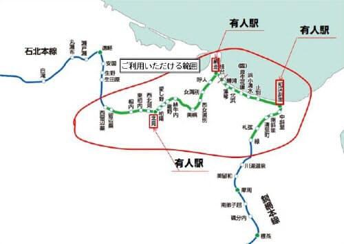 「スマホ定期券」の導入区間(出所:北海道旅客鉄道)