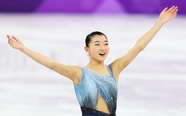 フィギュアスケート女子ショートプログラムに出場した坂本花織=山本博文撮影