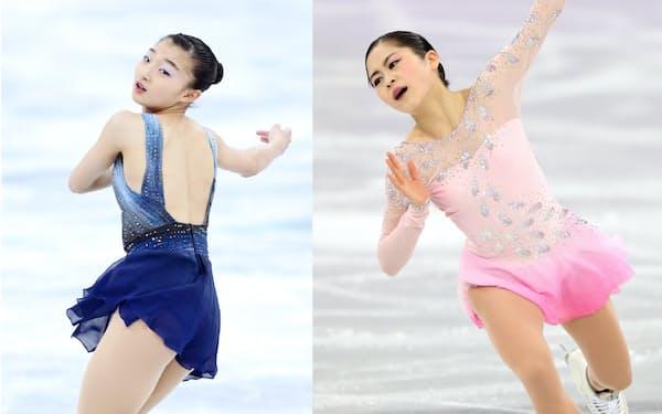 女子SP5位の坂本(左)と4位の宮原