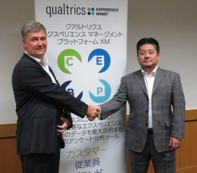 アジア太平洋日本地域担当マネージング ディレクターのビル・マクマレー氏(左)とクアルトリクス・ジャパンの熊代悟代表(右)