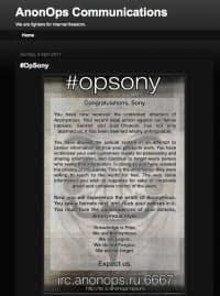 「アノニマス」からソニーへのサイバー攻撃を伝える声明文