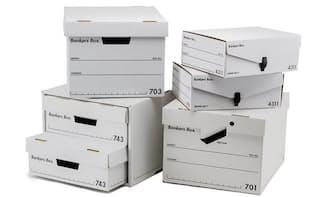 フェローズ「バンカーズボックス」。フラッグシップモデルの「701」(3枚入り、3150円)、「703S」(3枚入り、2700円)、「743S」(6枚入り、4500円)、「4311」(3枚入り、2010円)※価格はすべて税別、以下同