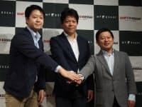 左からMF KESSAIの冨山直道社長、SHIFTの丹下大社長、マネーフォワードの辻庸介社長・最高経営責任者(CEO)
