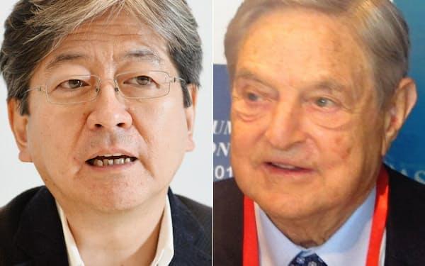 松本大氏(左)とジョージ・ソロス氏の最近の動きからは金融の未来像が浮かぶ