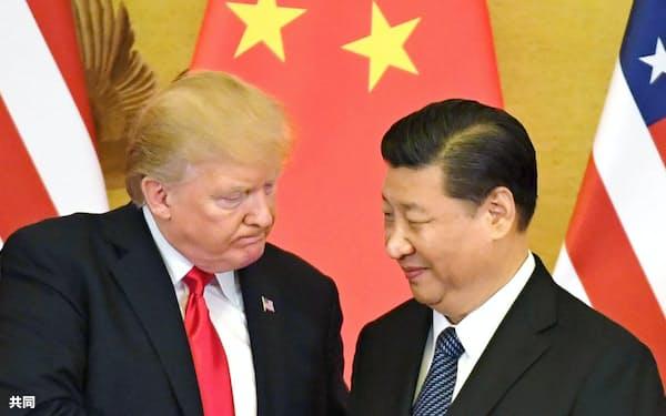 米中攻防の背景にはサイバー攻撃がある(トランプ米大統領〈左〉と習近平・中国主席)=共同