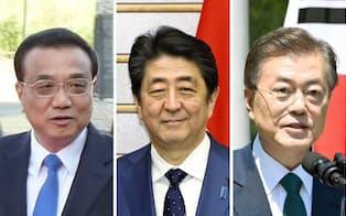 5月9日に東京で会談することが決まった、(左から)中国の李克強首相、安倍首相、韓国の文在寅大統領=共同