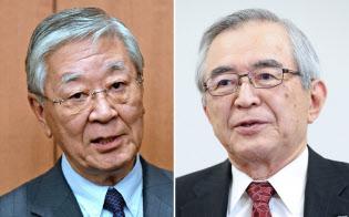 日立製作所の中西宏明会長(左)と東京電力HDの川村隆会長