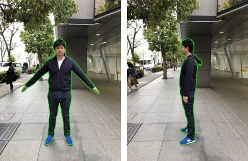 正面と側面の2枚の写真から人物の領域を抽出する。撮影時の服装や背景などの制約はほとんどないという(出所:オリジナル)