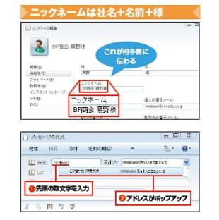 [上] 図2 Windows Live Mail(ウィンドウズ・ライブ・メール)でアドレス帳を開き、画面左の「連絡先」欄をクリック。「ニックネーム」欄に社名、名前、様を入力する。これが相手側の宛先欄に表示される。なお、Outlook Express(アウトルック・エクスプレス)の場合は、アドレス帳に登録済みの相手にメールを送る際、宛先欄にメールアドレスを直接入力するとそれがそのまま表示される。ライブ・メールではそうならず、ニックネームが使われる [下] 図3 新規メールの宛先欄でニックネームの先頭数文字を入力すると(図の〔1〕)、オートコンプリート機能が働いて、候補のアドレスがポップアップ表示される(同〔2〕)
