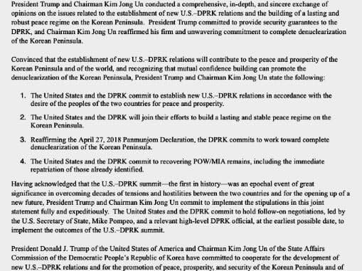 ホワイトハウス報道担当がツイッターで公開した、米朝首脳会談の共同声明(ツイッター画面より)