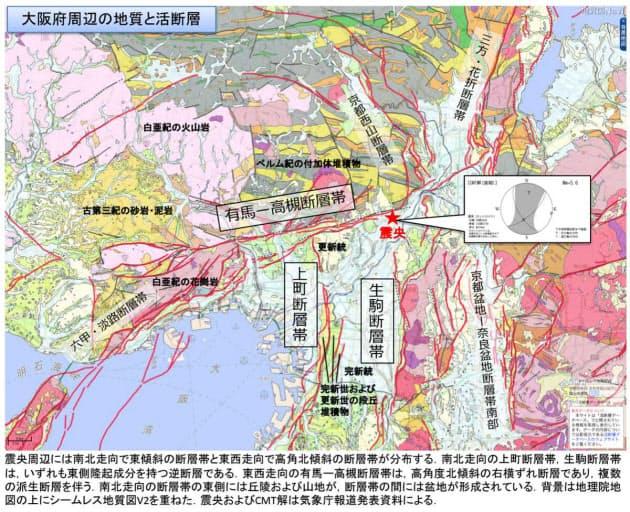 6月18日午前7時58分に発生した地震の震央と周辺の活断層(資料:産業技術総合研究所)