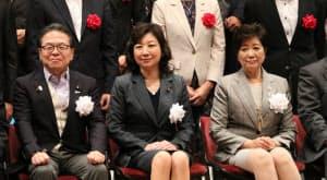 プレイベントに出席した世耕弘成経済産業大臣、野田聖子総務大臣、小池百合子東京都知事(左から)