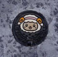 泉大津市のマスコットキャラクター「おづみん」があしらわれた水道の蓋