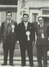 選挙応援に来た佐藤栄作(左)と金丸信(中央)。右は広瀬久忠