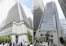 日立と三菱重工の本社ビル(左が日立=東京都千代田区、右が三菱重工=東京都港区)=共同