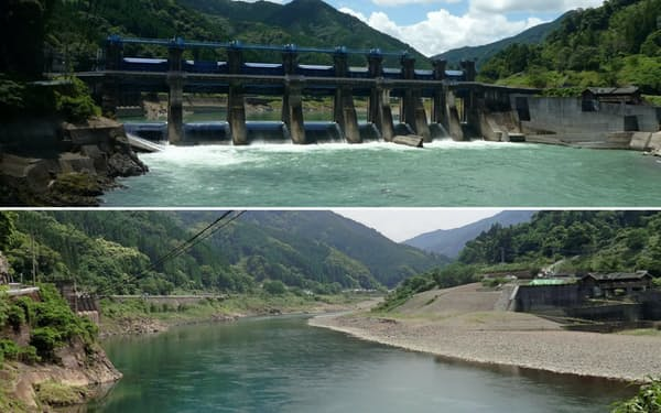 荒瀬ダム撤去前(上、2011年7月)と撤去後の球磨川(18年5月)=熊本県提供