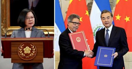 写真左はエルサルバドルとの断交を受け会見する台湾の蔡総統。写真右は国交を樹立したエルサルバドルのカスタネダ外相(左)と中国の王毅外相(いずれも21日)=ロイター