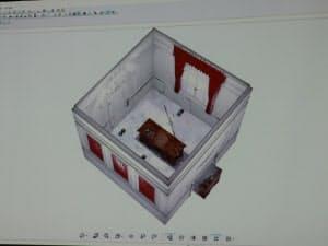 グランブルーファンタジーの世界観を再現する空間の3次元モデル。建設・工業用のレーザーレンジスキャナーを使って自動生成した