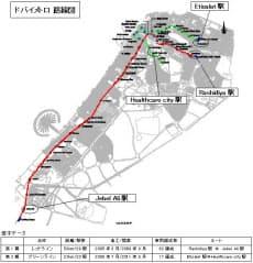 ドバイメトロの路線図