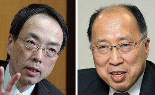 金融業界に厳しく迫った森信親・前金融庁長官(左)。遠藤俊英氏(右)はどう出るか