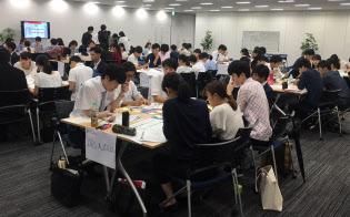 インターンシップでは3日間のグループワークで損害保険ビジネスについて体感=損保ジャパン日本興亜提供
