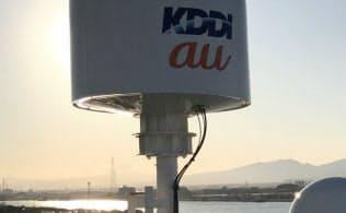 衛星通信を介して船上の基地局から携帯電話サービスを提供した(北海道苫小牧市)