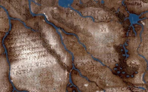 500年前の地図に隠れていた文字が解明され、地図製作者の情報源や、後年製作された重要な地図への影響が明らかになった(IMAGES BY LAZARUS PROJECT / MEGAVISION / RIT / EMEL、 COURTESY OF THE BEINECKE LIBRARY、 YALE UNIVERSITY)