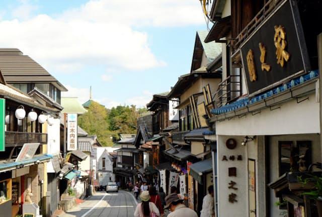 江戸情緒を感じる成田山門前商店街の町並み
